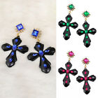 New Fashion Women Gothic Gold Plated Cross Crystal Drop Dangle Stud Earrings