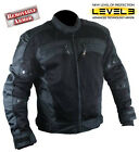 Men's Black Tri-Tex Fabric Level-3 Armored Motorcycle Jacket