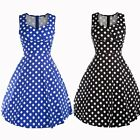 Vintage Women's Retro Style 50s 60s Round Dot Swing Pinup Rockabilly Party Dress