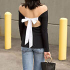 Woman Long Sleeve Off Shoulder Backless Jumper Pullover Tee Fashion Top Blouse
