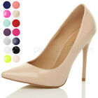 WOMENS LADIES POINTED CONTRAST HIGH HEEL SMART PARTY WORK PUMPS COURT SHOES SIZE