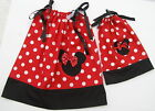 """Minnie Mouse Pillowcase Dresses Girls & 18"""" Doll Size 1T,2T,3T Multi-col Red Blk"""