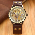 Leather Band Men Male Military Clock Automatic Skeleton Mechanical Watch Self Wi