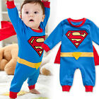 Kids Baby Boys Halloween Superman Cosplay Jumpsuit Cotton Long Sleeve Clothes