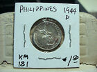 1944 D PHILIPPINES 10 CENTAVOS .750 SILVER KM 181 ASW 0.0482