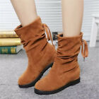 New Ladies Fashion Lace Up Slouchy Ankle Boots Round Toe Nubuck Leather shoes