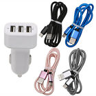 3 Ports USB Car Charger + Cable 5V 1A 2.1A Adapter Type C For Android Cell Phone