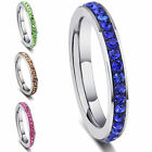 WO Women Mens Stainless Steel Ring Full Filled Rhinestone Crystal Band Rings