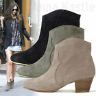 AnnaKastle Womens Western-Inspired Genuine Suede Ankle Boots Bootie US 5 6 7 8