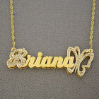 Personalized 10K Gold Double Plates Name butterfly Pendan...