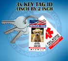 HOLOGRAPHIC SERVICE DOG ID CARD ID KEY CHAIN COLLAR TAG FOR SERVICE ANIMAL ADA
