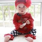 2pcs Baby Girls Clothes Kids Christmas Sets T-Shirt+Pants Lace Outfits For 1-5 Y