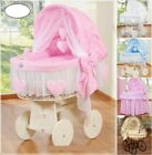 NEW WICKER MOSES BASKET WITH BEDDING SET AND STAND WITH BIG WHEELS 5 DESIGNS