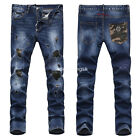 New Mens Italy Style Camouflage Patches Slim Pants Blue JEANS Trousers P830T