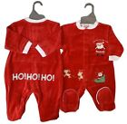 BABY BOYS GIRLS SANTA LOVES FIRST CHRISTMAS BABY GROW SLEEP SUIT VELOUR BODYSUIT