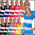 Sexy Women's Knitted Jumper Dress Ladies Striped Pullover One Size 6,8,10,12 UK