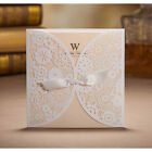 Free Personalized White Lace Wedding Invitations Cards Laser Cut Ribbon Envelope