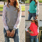Women's Patchwork Lace Long Sleeve Outerwear Pullover Sweatshirt Top Natural