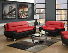 The Room Style Contemporary Bonded Leather Sofa Loveseat Set
