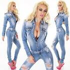 Sexy Women's Denim Blue Wash Jeans Playsuit Jumpsuit Overall Skinny Slim F 624