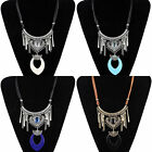 1 Piece Fashion Hot Women's Girl Carved Tassel Leather Rope Pendant Necklace