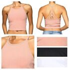 D2D Women's Junior  Casual Sexy Strappy- Back Detailed Stretchy Ribbed Crop Top