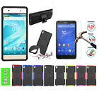 Dual Layer Hybrid Kickstand Cover+Tempered Glass Protector For Sony XPeria Phone