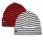 LACOSTE MEN'S KNITTED BEANIE HAT RED/ WHITE SMALL CROC RB3518 Was £40.00