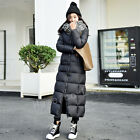 Womens White Duck Down Warm Thicken Quilted Full Length Long Parka Coat Outwears