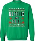 Ugly Christmas Netflix and Chill Crewneck Merry xmas sweater Movie gift shirt