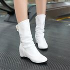 Women wedge heel round mid calf Snoe boots, casual shoes Knight boots US4-US10.5