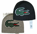 LACOSTE MEN'S BEANIE HAT RB7864 BIG CROC LOGO ONE SIZE NEW Was £50.00