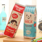 Cartoon Milk Box Stationery PU Pencil Pen Case Cosmetic Makeup Bag Zipper Pouch