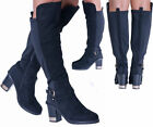 NEW LADIES WOMENS FAUX SUEDE GOLD BUCKLE KNEE HIGH ZIP BOOTS BLOCK HEELS SHOES