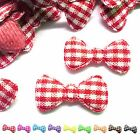 (50-100pcs) x 22mm Padded Gingham Cotton Bow Appliques for Trim/Bows/Card