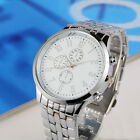 Fashion Luxury Mens Date Analog Quartz Sport Stainless Steel Band Wrist Watch
