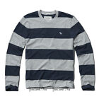 NEW ABERCROMBIE & FITCH for MEN A&F Tupper Lake Crew Tee HGrey/Navy Stripe S-XXL
