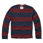 NEW ABERCROMBIE & FITCH for MEN A&F Tupper Lake Crew Tee * Burgundy/Navy Stripe