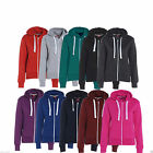 Womens Ladies Plain Fleece Hoodie Zip Sweatshirt Jacket Plus Size UK 18-32