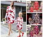 Christmas Mother&Daughter Mini Swing Dress Santa Reindeer Snowman Pattern Dress