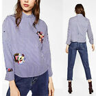Woman NEW BLUE STRIPED FLORAL EMBROIDERED MAO TOP SHIRT Loose Blouse Pullovers