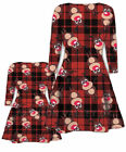 CHILDREN GIRLS XMAS MOTHER & DAUGHTER CHRISTMAS BROWN TARTAN PRINT SWING DRESS