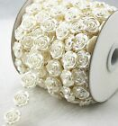 18mm Flower Shaped ivory Pearl Chain Trims Sewing Craft Wedding Decoration LZ138