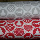 """Christmas  Scandinavian Grey Red 100% COTTON FABRIC by meter EX WIDE 160CM 64"""""""