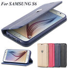 Real Leather Wallet Case Flip Stand Card holder Cover For Samsung Galaxy S6