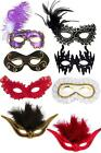 Masquerade Venetian Ball Eyemasks Cover Feathered Mask Elasticated Gold Trim