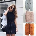 hot Women's Suede Leather Short Skirt Winter Casual Lace up Pockets High Wasit