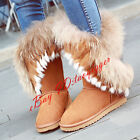 WOMENS REAL SUEDE REAL FUR TRIM RABBIT FUR LINING SNOW BOOTS WARM WINTHER сапоги