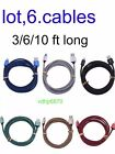 Lot 6x Braided Usb Cable Data Sync Charger Cord For Iphone 6 6 Plus Iphone 5 5s