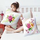 """18"""" Bouquet of Flowers Rose Stamped Cross Stitch Throw Pillow Kit"""